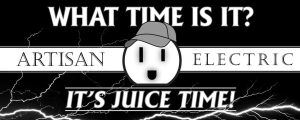 artisan electric banner logo black and white with lightening and tagline it's juice time with happy outlet wearing hat